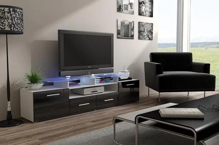 TV stolík Evora, bílá/černý lesk