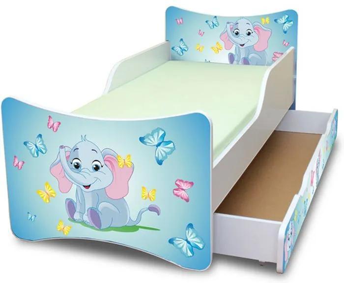 MAXMAX Detská posteľ so zásuvkou 140x70 cm - sloník 140x70 pre všetkých ÁNO