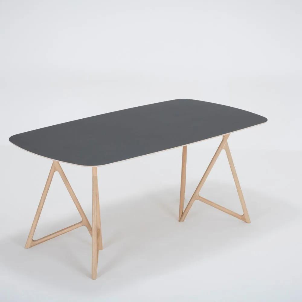 Jedálenský stôl z masívneho dubového dreva s čiernou doskou Gazzda Koza, 180 × 90 cm