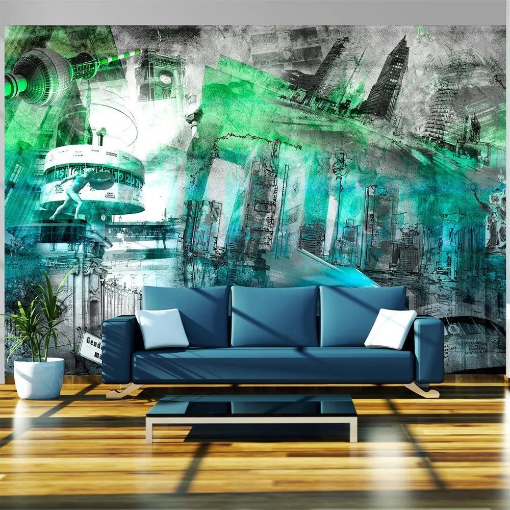 Fototapeta - Berlin - collage (green) 350x245