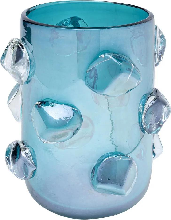 Modrá sklenená váza Kare Design Aquarius, výška 23 cm