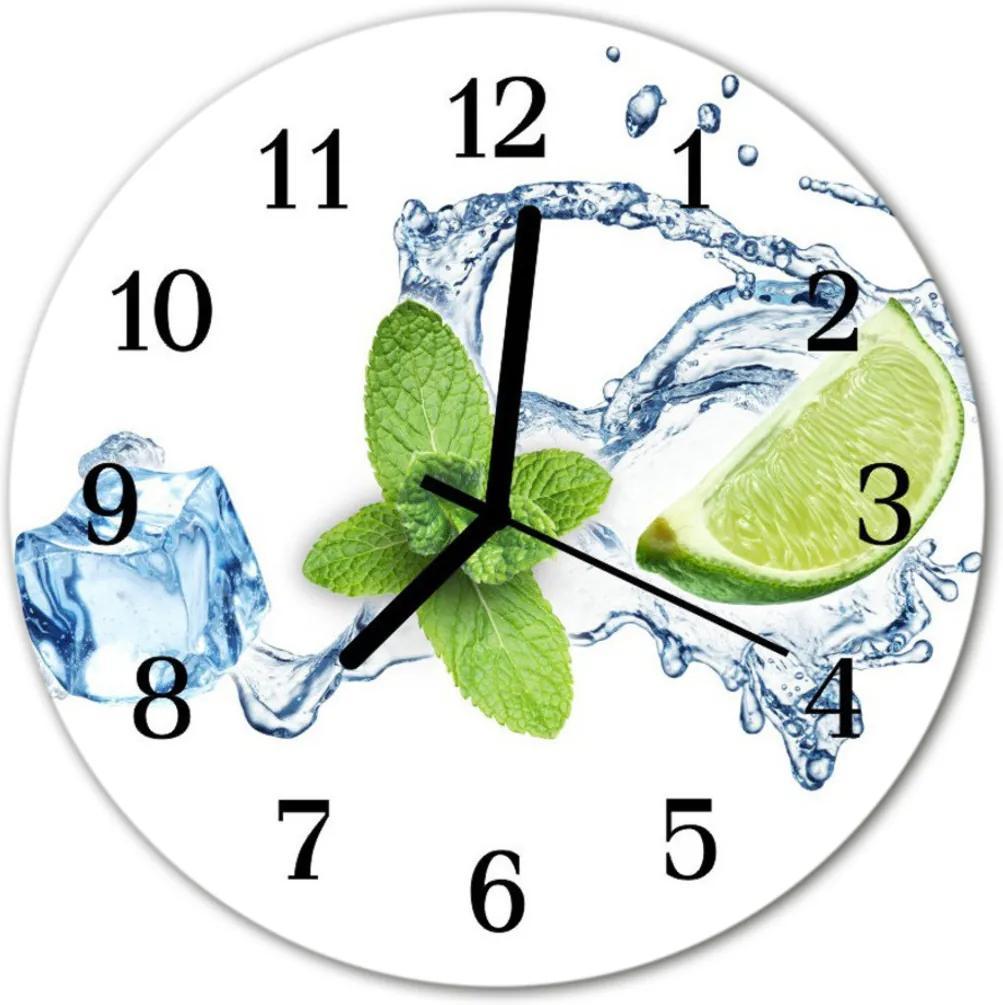 Nástenné skleněné hodiny máta