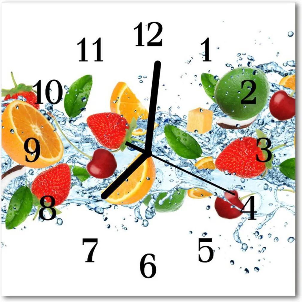 Nástenné sklenené hodiny  ovocný