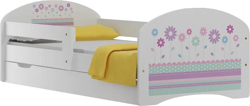 MAXMAX Detská posteľ so zásuvkami FAREBNÁ KVIETKY 140x70 cm 140x70 pre dievča ÁNO