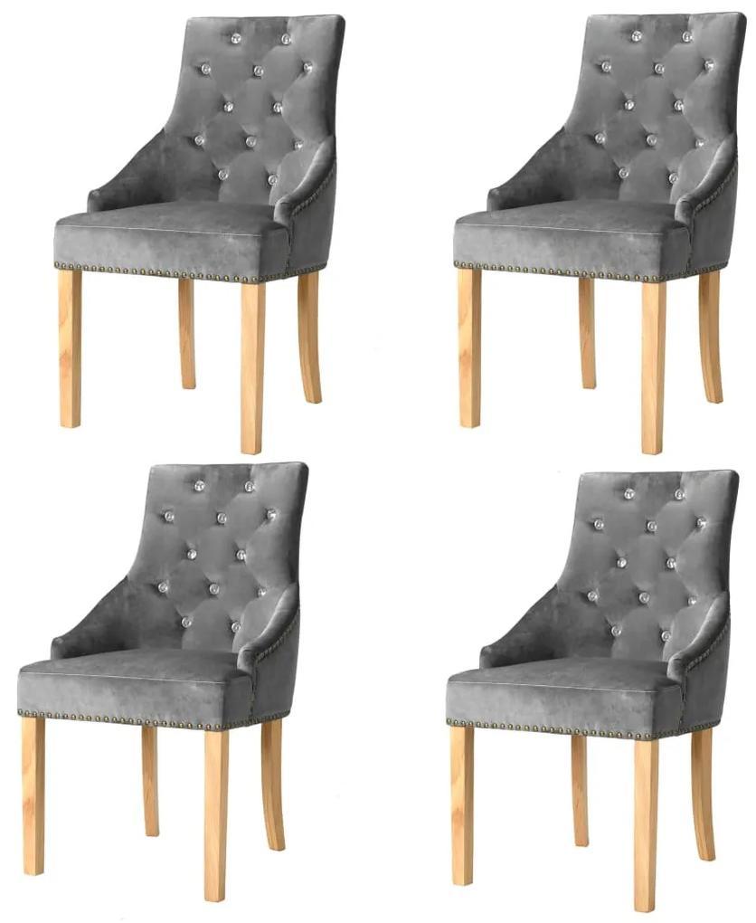 vidaXL Jedálenské stoličky 4 ks, strieborné, dubový masív a zamat