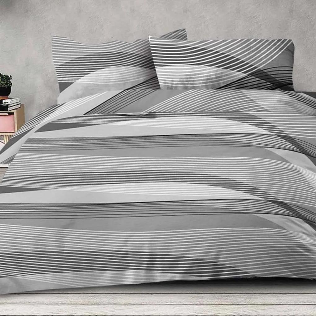 XPOSE ® Bavlněné povlečení na dvě lůžka AGNES - šedá, 140x200, 70x90