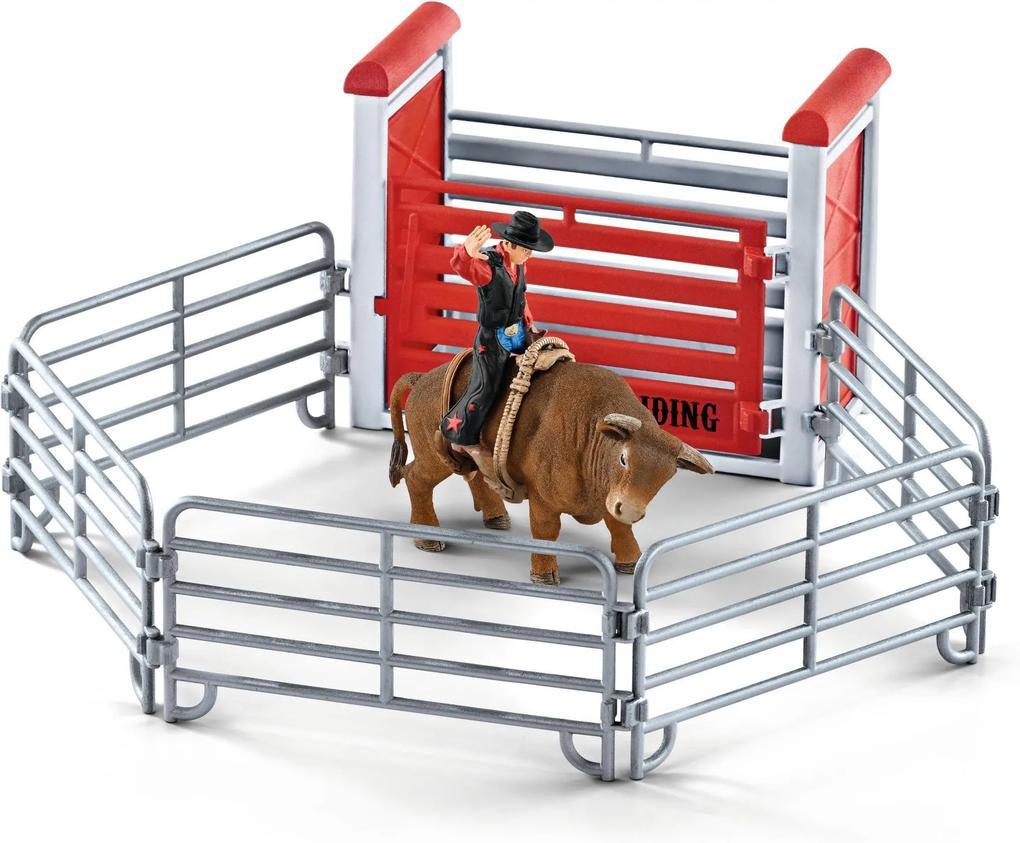 Schleich Kovboj na býkovi v ohrade 41419