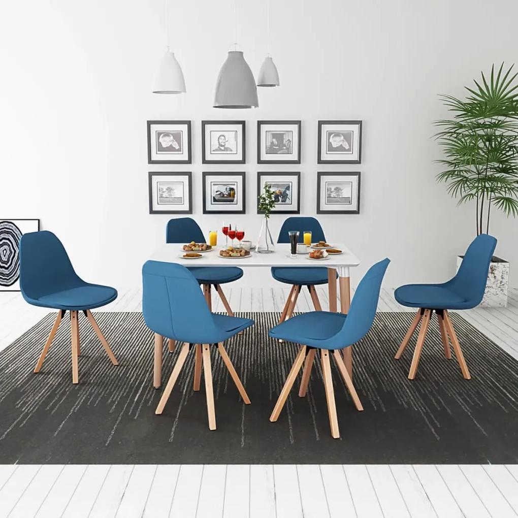 vidaXL 7-dielna jedálenská súprava stola a stoličiek, bielo-modrá