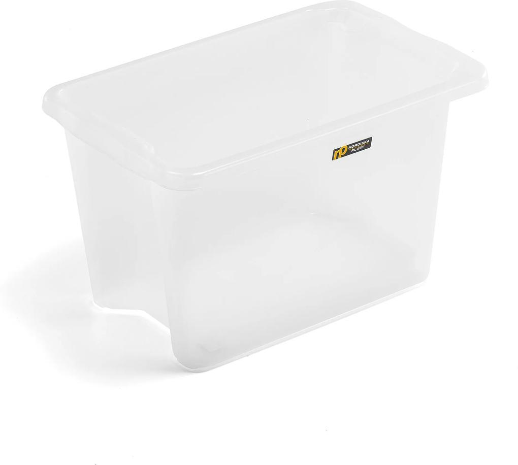 Úložný box, Š 400 x D 600 x V 350 mm, 55 L, priehľadný
