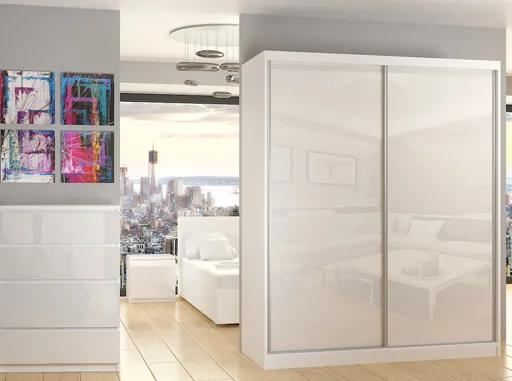 Elegantná biela šatníková skriňa Gante 158 cm