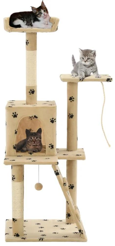 vidaXL Škrabadlo pre mačky so sisalovými stĺpikmi 120 cm béžové s labkami