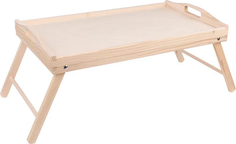 ČistéDrevo Drevený servírovací stolík do postele 50x30 cm - nelakovaný