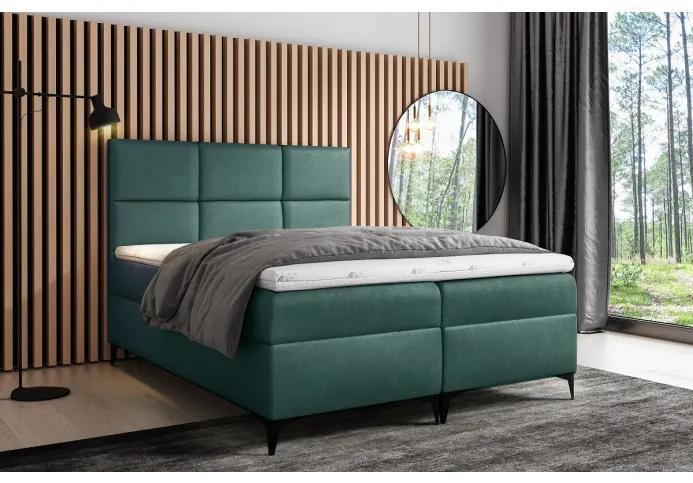 Dizajnové čalúnené jednolôžko Fiza s úložným priestororm zelená 140 x 200 + topper zdarma