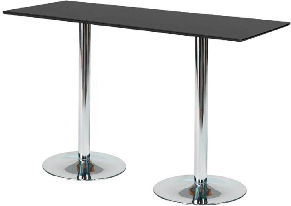 Barový stôl Bianca, 1800x700 mm, čierny, chrómová podnož