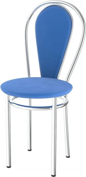 Lacná kovová jedálenská stolička čalúnená Tunber+k - azurová - 25D