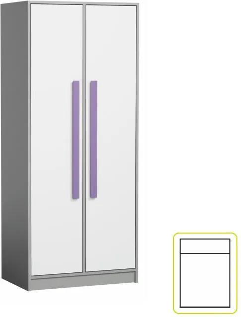 Vešiaková skriňa PIERE P01 siva / biela / fialová Tempo Kondela