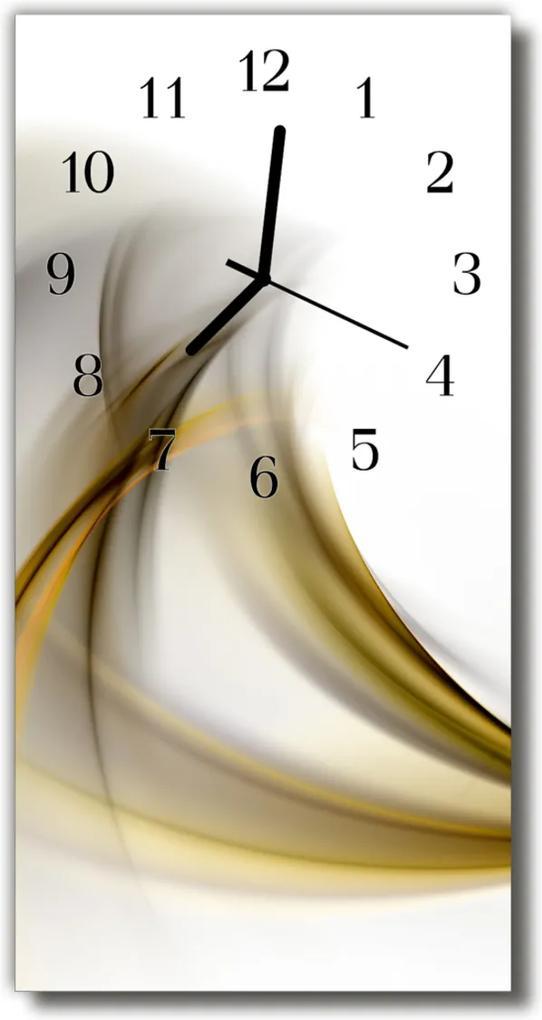 Skleněné hodiny vertikální Umělecké abstrakce linie béžová