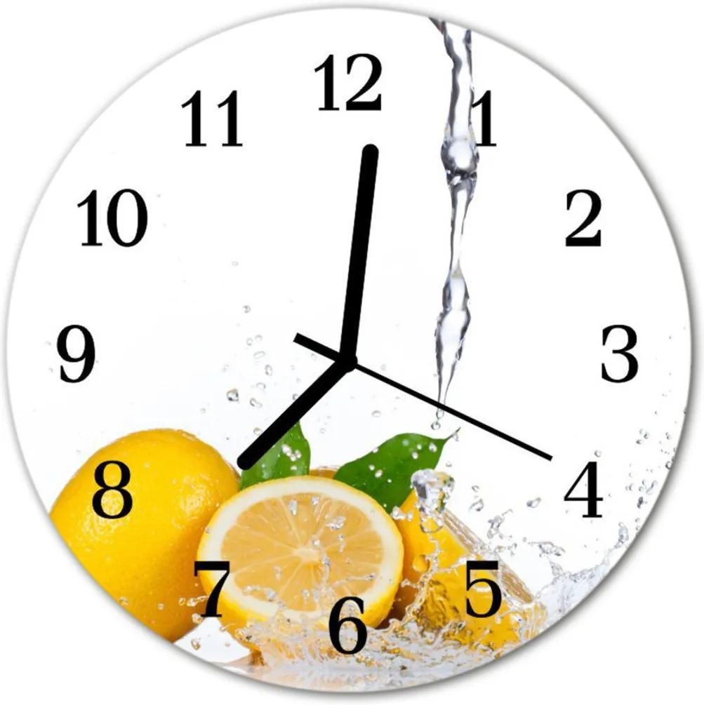Skleněné hodiny kulaté citróny