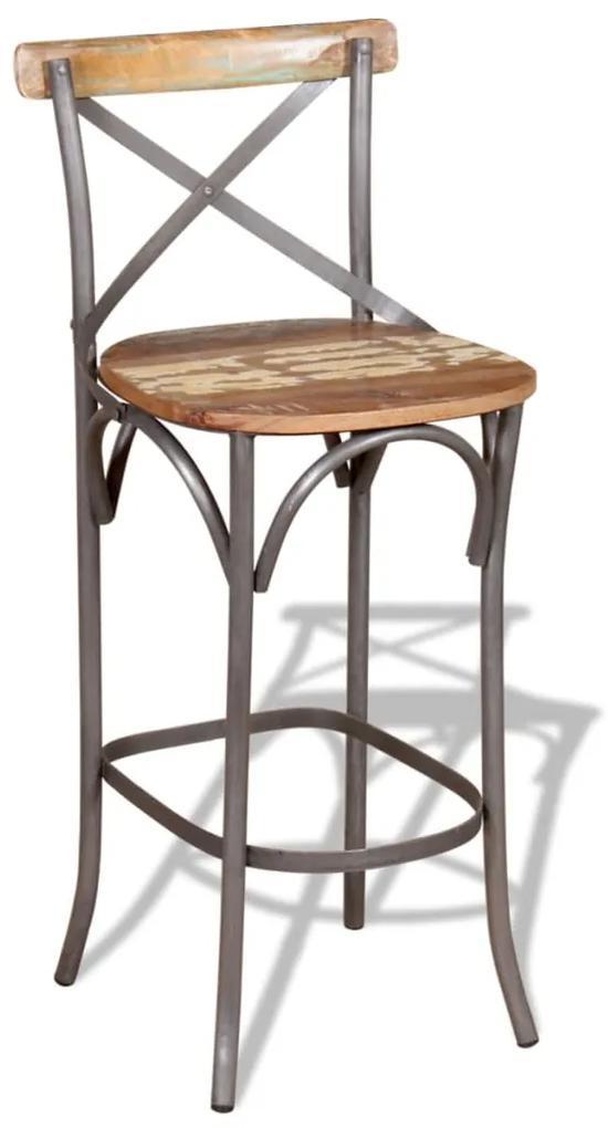 vidaXL Barová stolička, recyklovaný masív