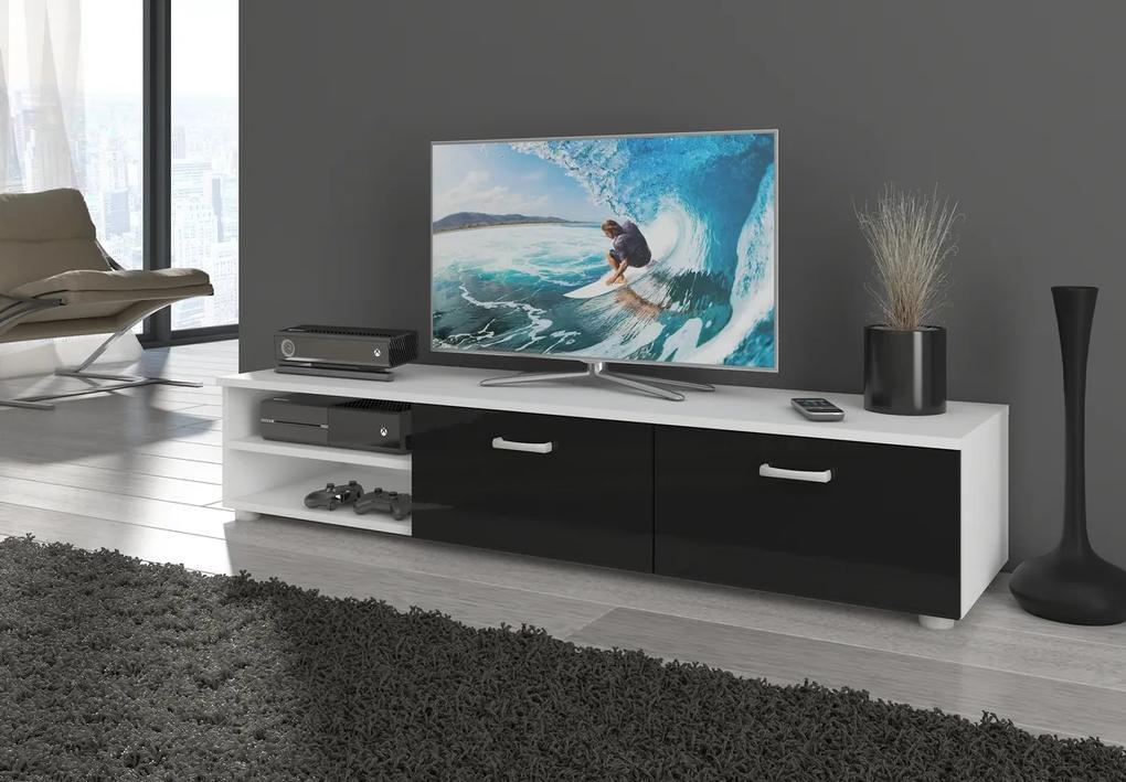 MEBLOCROSS Magic MAG-03 tv stolík biela / čierny lesk