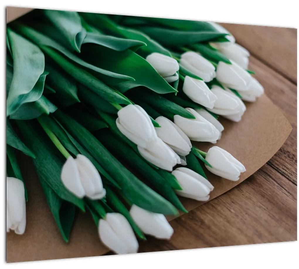 Obraz kytice bielych tulipánov (70x50 cm), 40 ďalších rozmerov