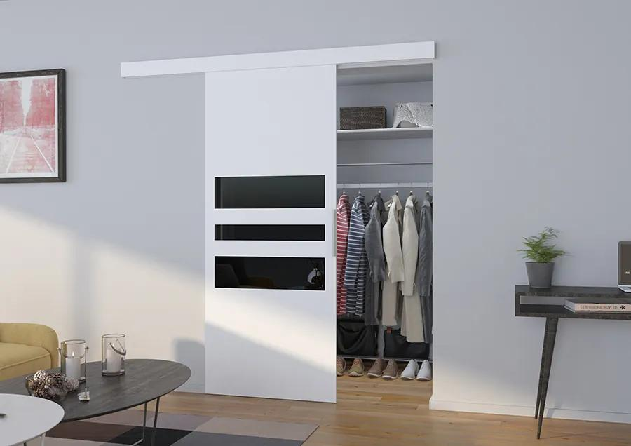 Posuvné dvere na stenu biele Clin