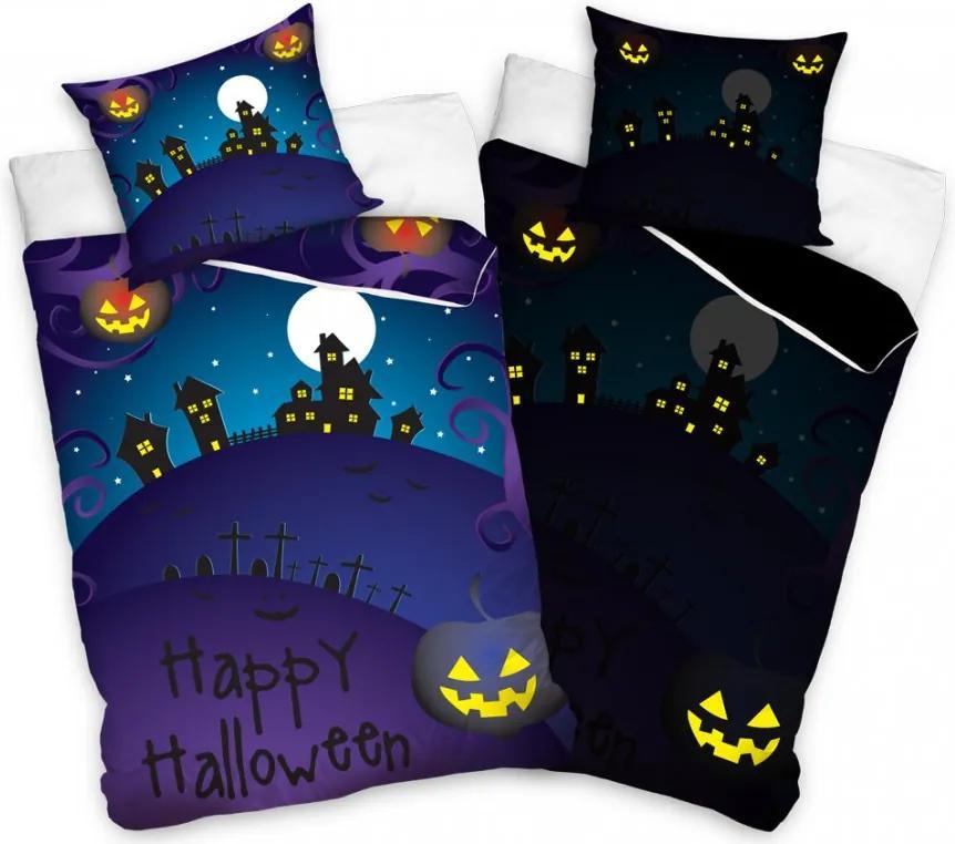 Svietiace obliečky Happy Halloween 140x200/70x90 cm
