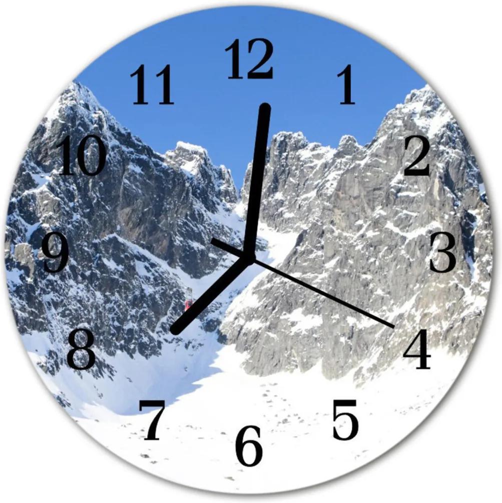 Nástenné skleněné hodiny Hory v zimě
