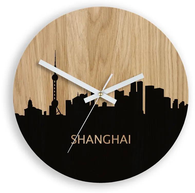 Mazur Nástěnné hodiny Shanhgai hnědé