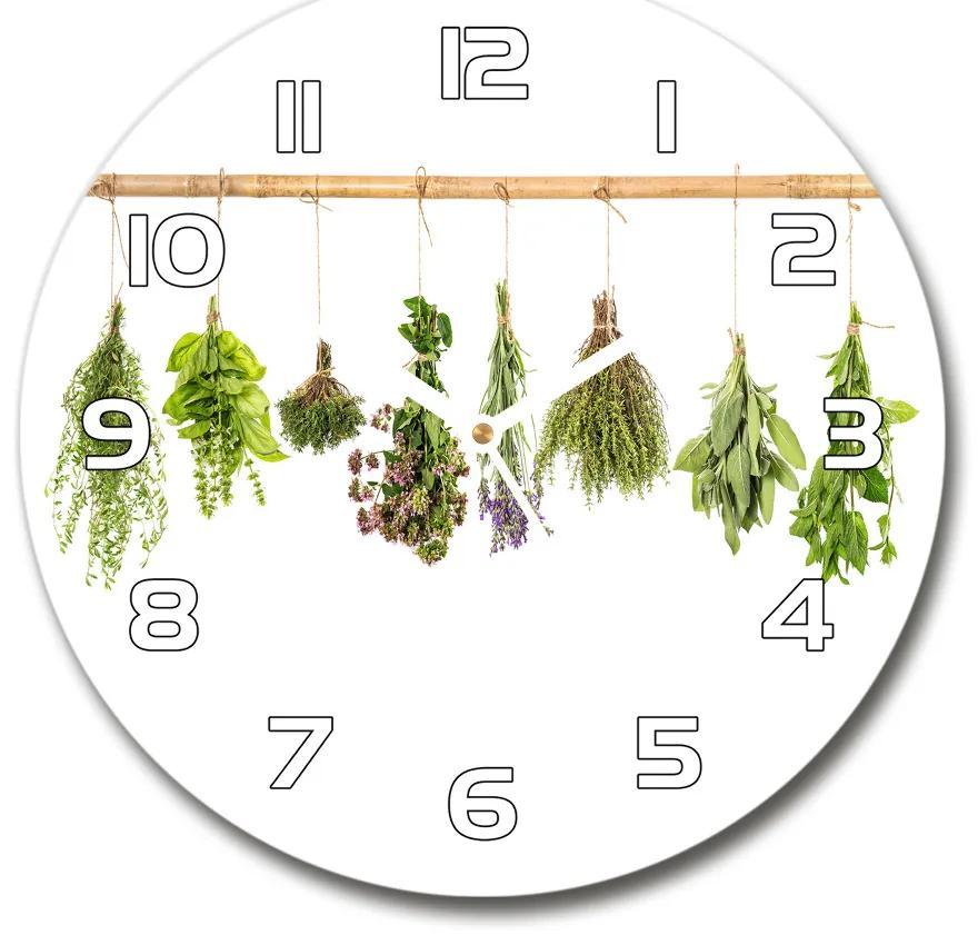 Sklenené hodiny na stenu Bylinky na povrázku pl_zso_30_f_55783729
