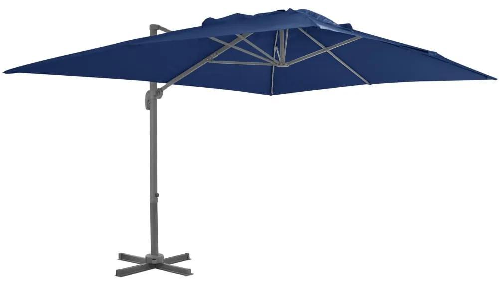 vidaXL Závesný slnečník s hliníkovou tyčou 4x3 m azurovo-modrý