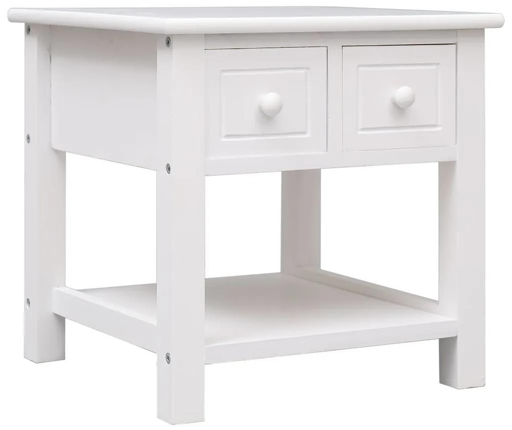 vidaXL Príručný stolík biely 40x40x40 cm drevo paulovnie