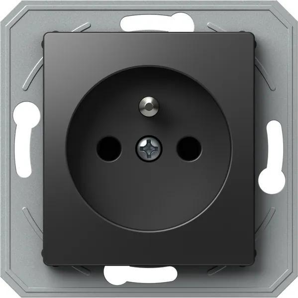 VE42 | Zásuvka bez rámika Farba: Čierna lesklá
