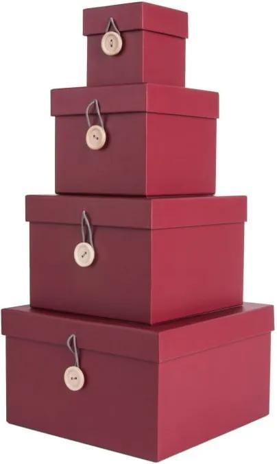 Sada 4 červených úložných boxov s vekom PT LIVING Uniform
