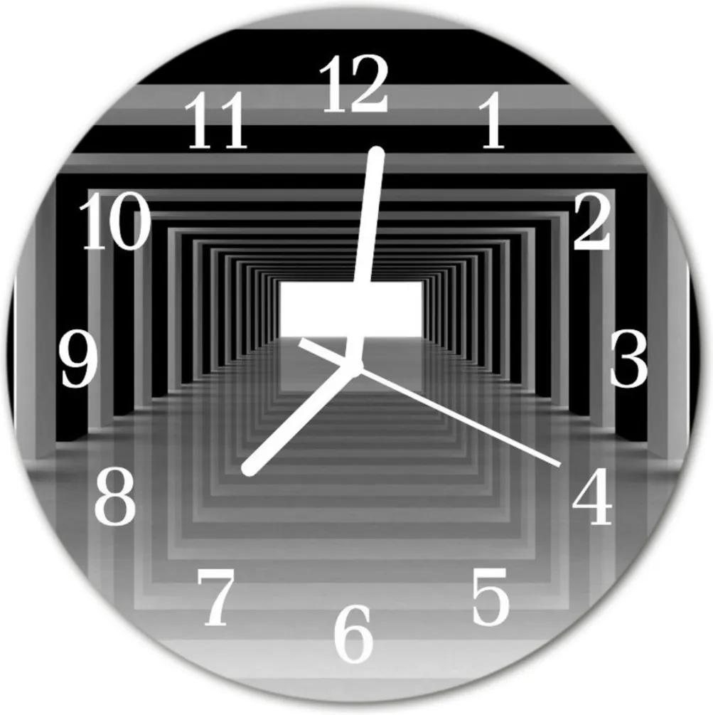 Skleněné hodiny kulaté 3d tunel