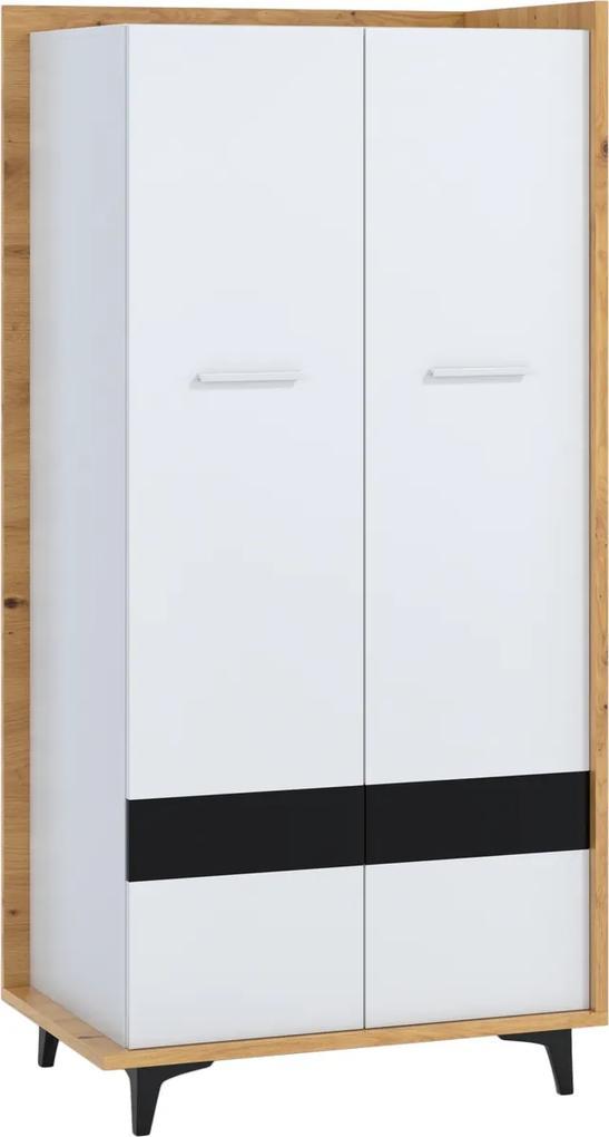 MEBLOCROSS Box Box-10 2D šatníková skriňa dub artisan / biela / čierna