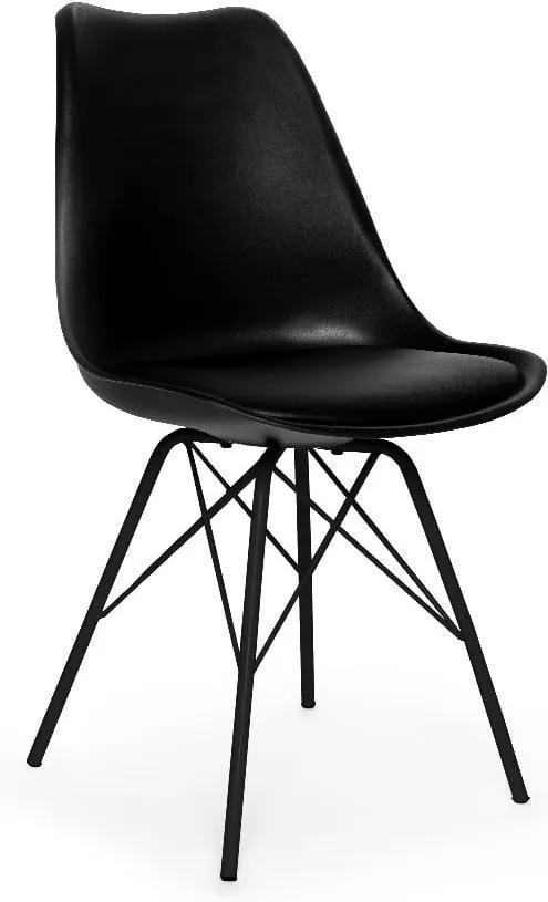 Sada 2 čiernych stoličiek s čiernou podnožou z kovu loomi.design Eco