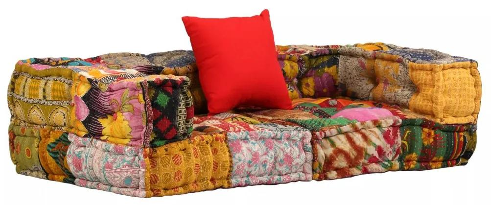 vidaXL Modulárna textilná 2-miestna pohovka s opierkami, patchwork
