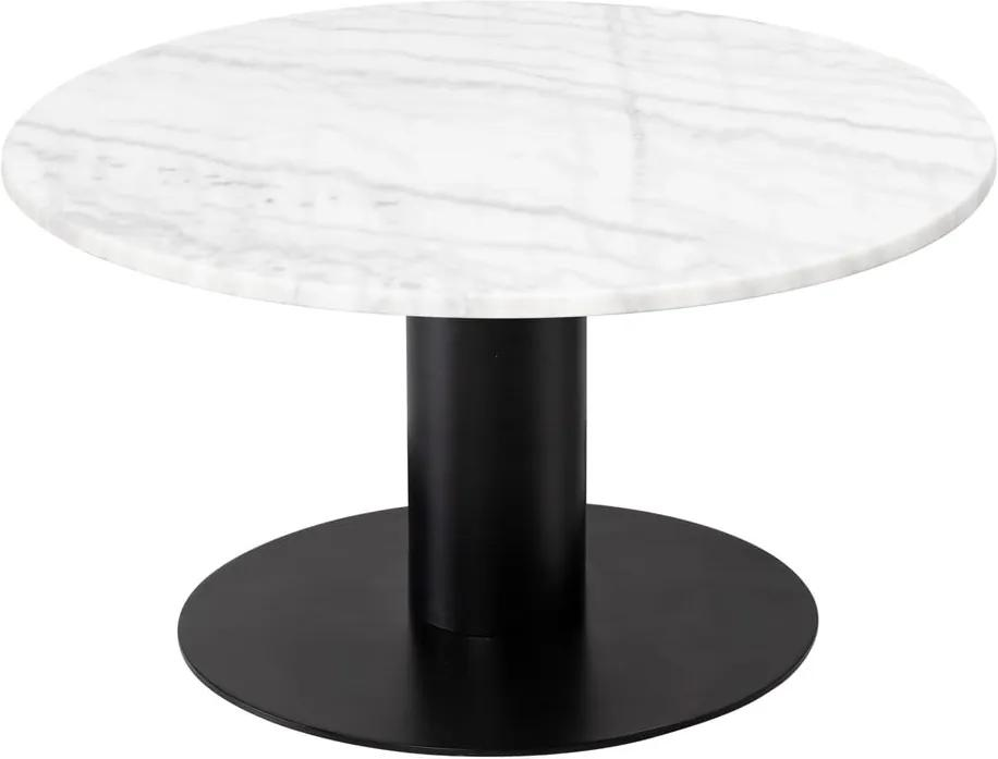 Biely mramorový konferenčný stolík s podnožím v čiernej farbe RGE Pepo, ⌀ 85 cm
