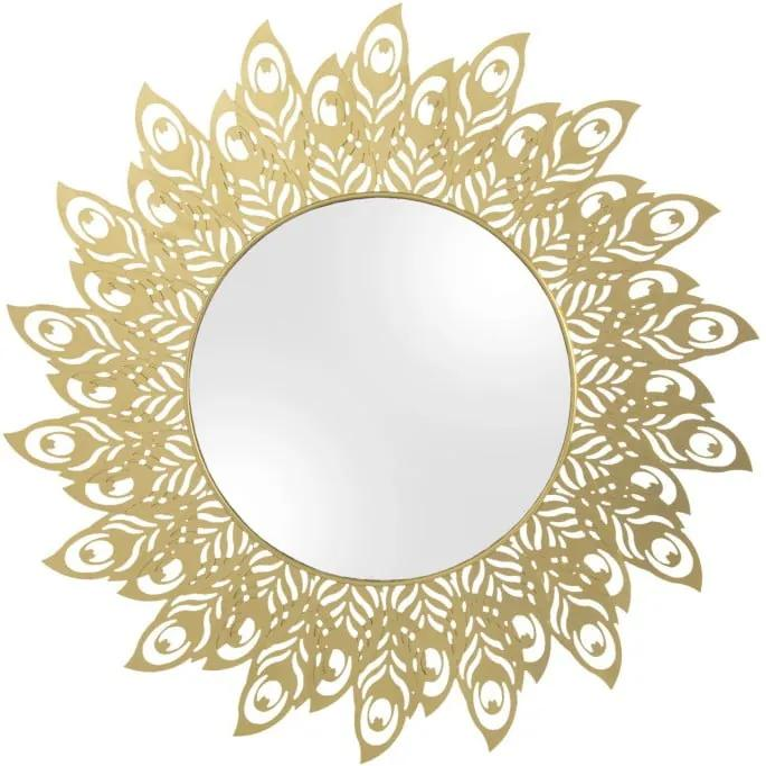 Nástenné zrkadlo s rámom v zlatej farbe PT LIVING Peacock Feathers, 60 × 30 cm