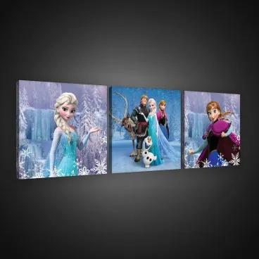 Obraz na plátne viacdielny - OB2577 - Ľadové kráľovstvo Elsa a Anna 75cm x 25cm - S13