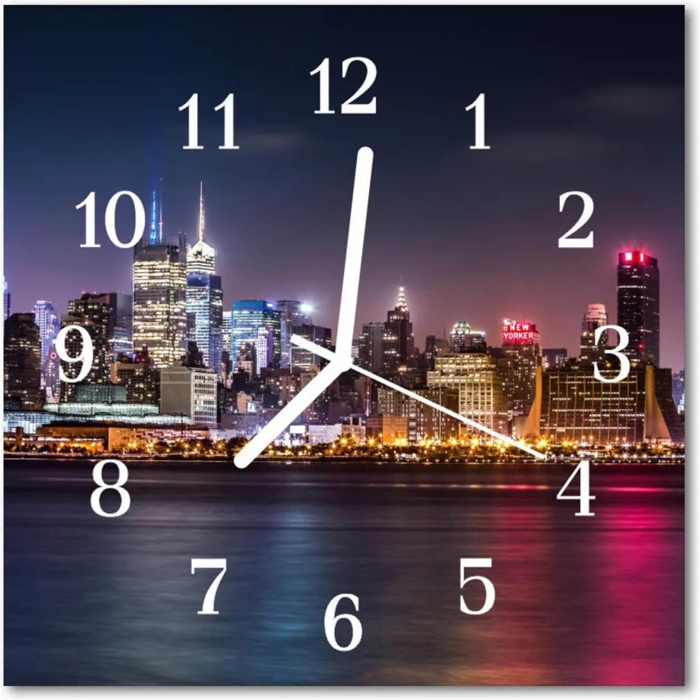 Nástenné skleněné hodiny Panoráma města