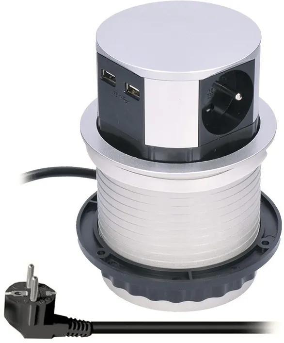 Solight Solight výsuvný blok zásuviek, 3 zásuvky, 2x USB, kruhový tvar nízky, predlžovací prívod 1,5m, 3 x 1mm2, strieborný