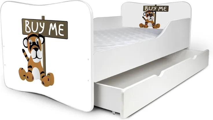 MAXMAX Detská posteľ so zásuvkou TIGRÍK + matrac ZADARMO 180x80 pre všetkých ÁNO