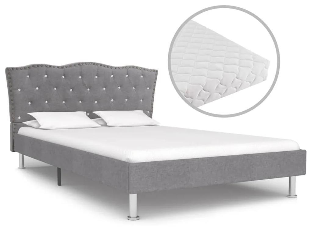 vidaXL Posteľ s matracom, svetlosivá, látka 120x200 cm