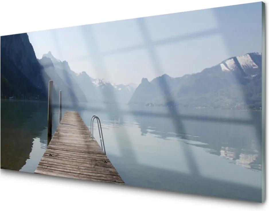 Skleněný obraz Molo jezero hory krajina