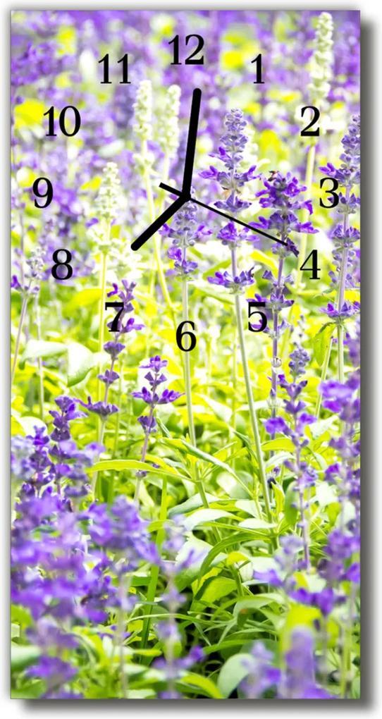 Skleněné hodiny vertikální Barevné květiny levandule