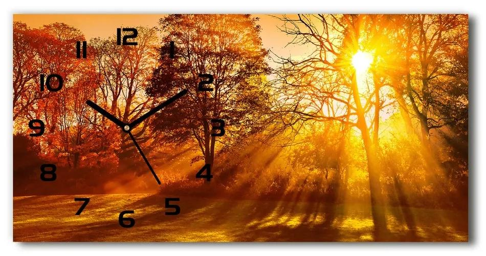Sklenené hodiny na stenu tiché Západ slnka pl_zsp_60x30_f_68720414