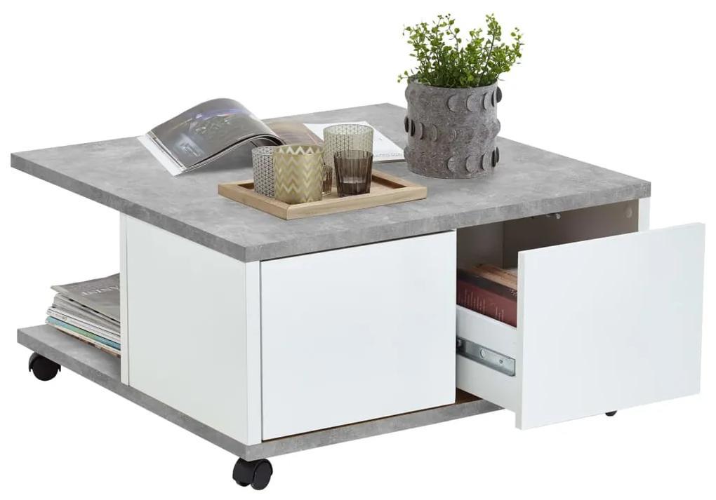 FMD Prenosný konferenčný stolík 70x70x35,5 cm betónová a lesklá biela