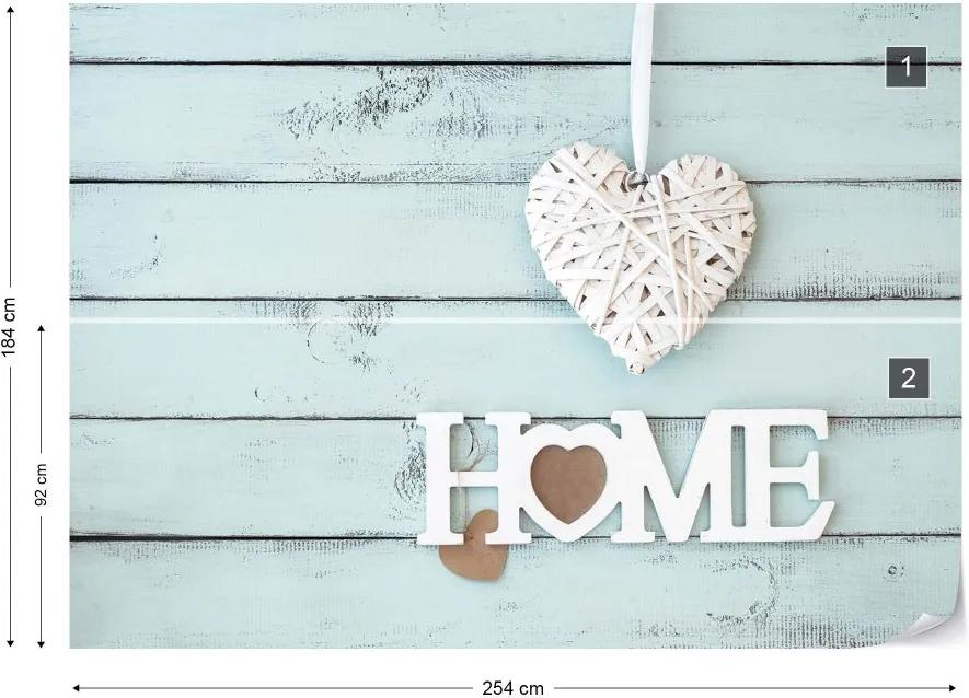 "Fototapeta GLIX - Vintage Chic ""Home"" Painted Wooden Planks  + lepidlo ZADARMO Vliesová tapeta  - 254x184 cm"
